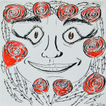 """Rose Face"", pen and ink on canvas. (c)Alan Vreeland, Artists of the Recovery Learning Community."