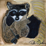 """Curious Raccoon at Home"", watercolor markers. (c)Patri O'Donohue, Artists of the Recovery Learning Community."