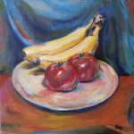 """Apples and Bananas"", acrylic on canvas. (c)Sara-Ann Markwith Padgett."