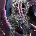 """""""Te Ata, Pocket Universe #2"""", monotype, stencil, sharpie. (c)Michael Vincent Bushy."""