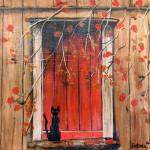 """Autumn Cat"", acrylic on canvas. (c)Debora Carver Ellsworth."