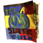 """It's a Super World"", sculptured painting of a comic book. (c)Krissy Fuller."