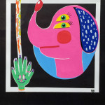 """Double Eye Dog"", paint pen and collage. (c)Amanda Hartlage."
