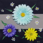 """Spring Flowers"", mixed media collage with acrylic base on canvas. (c)Robert Hill."