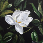 """Camellia Flower"", acrylic on canvas. (c)Robert White Hill."