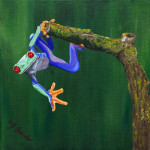 """Super Frog"", acrylic on canvas. (c)Mary Jane Lucido."