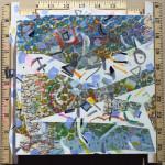 """""""USSR"""", acrylic, maps, oil stick, wooden yardsticks on raised wooden panel. (c)Mark V. Mellinger."""