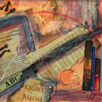 """Best Sellers"", mixed media collage. (c)Ann Pasko."