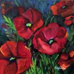 """""""Field Poppies"""", acrylic on canvas. (c)Sally Tiska Rice."""