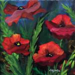 """Papaver Rhoeas"", acrylic on canvas. (c)Sally Tiska Rice."