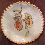 """Wasps and Bumbles"", porcelain dish, food safe glazes. (c)Joan Rooks."