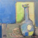 """Waiting for Flowers"", acrylic and caran d'ache. (c)Ilene Spiewak."