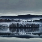 """Foggy Morning at the Lake, Pontoosuc Lake"", photograph. (c)Debbie Storie."