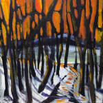 """Afterglow"", Golden acrylics on canvas. (c)Scott Taylor."
