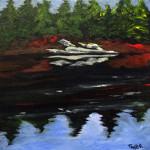 """""""Shoreline"""", Golden acrylics on canvas. (c)Scott Taylor."""