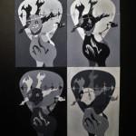 """2013_""""Slightly Disturbed"""", acrylic gouache on water color paper, 20""""x20"""". (c)Ben Warren."""