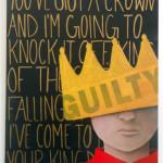 "2014_""Kid King"", acrylic and newspaper on gesso board, 11""x14"". (c)Stephanie Van Bramer."