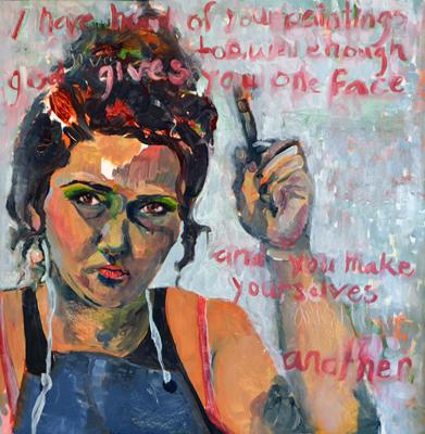 """""""I Have Heard of Your Paintings"""", oil, 24""""x23"""". (c)Amalie Dougish."""