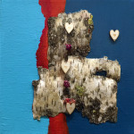 Untitled, mixed media, acrylic on canvas, birch bark, wooden hearts, dried flowers. (c)Patricia Boissevain.