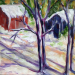 """Shadows in the Snow"", painting. (c)Peg Dotchin."