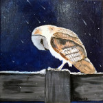"""Winter Owl"", acrylic on canvas. (c)Debora Carver Ellsworth."