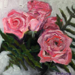 """Pink Roses"", oil on canvas. (c)Keith Emerling."