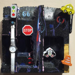 """Stop 66 Z"", mixed media with velcro. (c)Lisa Merullo."