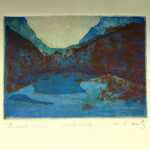 """Glacial Lake"", etching and aquatint print. (c)Mary Rentz."