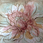 """In Bloom"", dry point and monotype print. (c)Mary Rentz."