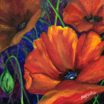 """Poppies"", acrylic on canvas. (c)Sally Tiska Rice."