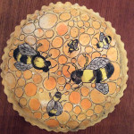 """Wasps and Bumbles 2"", porcelain dish, food safe glazes. (c)Joan Rooks."