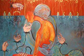 """Golden Red"", painting. (c) Maya Lama, 2009"